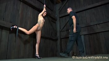 Slave girl tied naked Zealous sex-toy act for babe