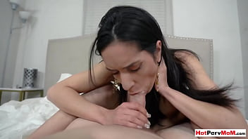 Huge titted MILF stepmom moaning on stepsons big cock