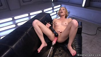 Shaved pussy squirter fucking machine