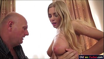 Busty Lolly Gartner titfucks and sucking off a grandpas cock