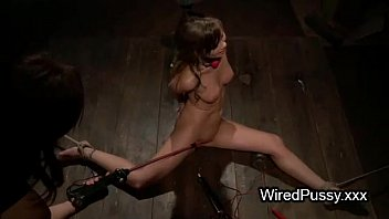 Tied up brunette pussy cattle prodded
