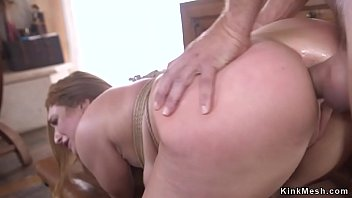 Natural busty brunette anal fucked doggy