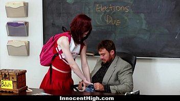 InnocentHigh - Redhead Cheerleader (Trinity May) Rides Her Teachers Big Cock