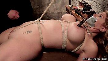 Bondage crotch tie - Crotch rope big tits blonde on hogtie