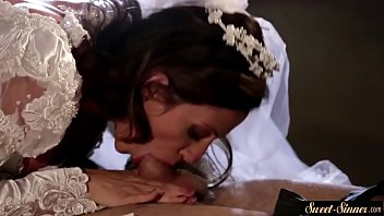 Milf bride gets jizzed on tits after fucking thumbnail
