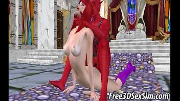 Foxy 3D cartoon redhead gets fucked by a demon