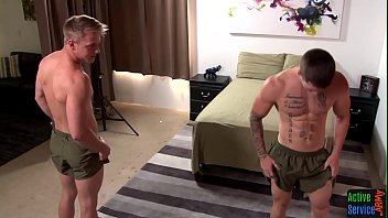 Gay marriage activism - Muscly army twink tugs on hard dick