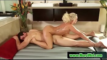 Blondie masseuse blows and sucks balls - Tony Martinez & Cali Carter