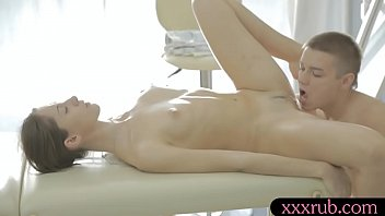 Cute babe Aruna Aghora anal pounded on massage table
