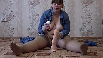 Rubber sex - A fat girl with a big ass masturbates her pussy and jumps on a rubber penis