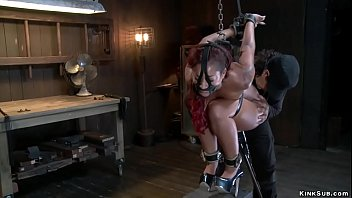 Redhead in squat bondage ass whipped