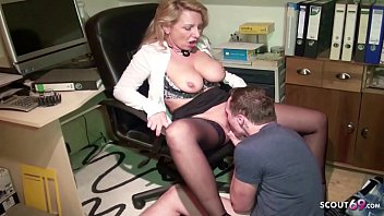 GERMAN MILF JENNY SEDUCE TRAINEE BOY TO FUCK HER IN OFFICE