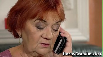 Grandmother gets face and mouth jizzed