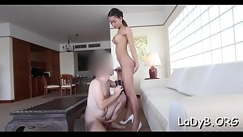 Slender asian lady-boy gets her narrow butthole poked rough
