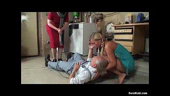 Granny catches blonde teen sucks grandpa's cock