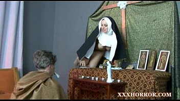 Cross dresser bondage Nun angelica prones her ass with the cross