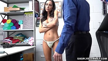 Pervy security Officer whips out his cock for Tia Cyrus