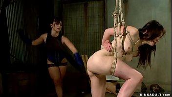 Lezdom anal bangs gagged slave