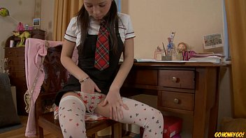 Go-girl-go porn Schoolgirl doing homework stops to masturbate