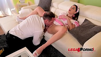 Leggy sexy maid Ally Breelsen double penetrated until she screams & creams GP239
