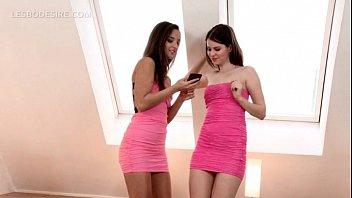 Teen pinky babes undressing for lesbian hot sex