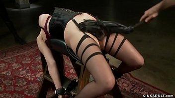 Busty sub in back arch bondage vibed