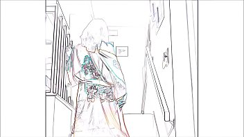 Luna Lain Strips On The Stairs - In Relief