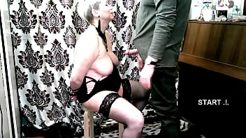 A young Master teaches obedience to a mature busty Lady )) Now I will teach you to be submissive, mommy! ))