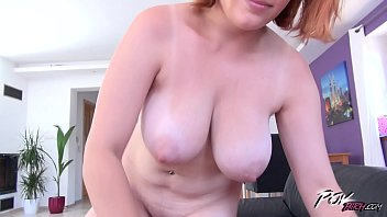 Povbitch Busty red head suck cock like crazy bitch before get cum shower thumbnail
