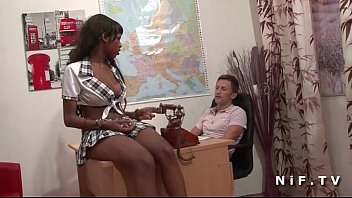 Pretty french black student hard banged by her teacher in classroom