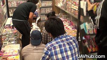 JAVHUB JAV model Miku Oguri gangbanged in a porn store