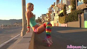 Roller teen (Heather Vandeven) shows off her pigtails and socks - Twistys