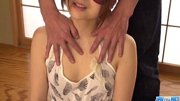 Mayuka Akimoto receives toys on both her hairy holes