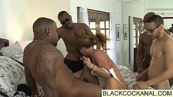 White girl sucking on big black monster cocks