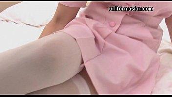 Asian amateur nurse in uniformed lover sex