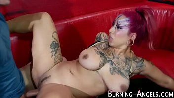 Punk alien swallows cum