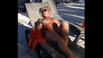 My slut wife is masturbating arrondissement people at the beach thumbnail