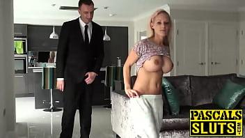 Big titted blonde slut Loulou gobbles on Pascals fat cock