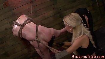 Mistress toys tied redhead   threesome   lezdom   shibari
