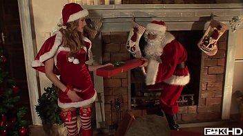Santa gets his hard veiny cock sucked by Christmas bombshell Blue Angel thumbnail