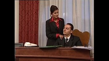 Vintage mod mini Hot secretary in mini skirt banged by her head office