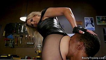Busty blonde shemale anal fucks black man