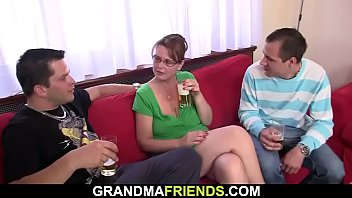 Threesome party with boozed old woman