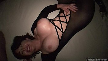 Cute busty girlfriend crotchless pantyhose cumshot. Nylon Catsuit / Bodystocking