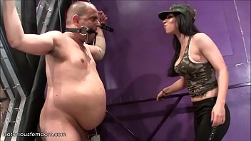 Gorgeous raven haired mistress is kicking balls in amazing ballbusting clip