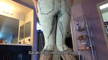 Pee holding herself Sarah b. female desperation wetting her jeans