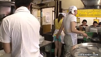 Sexy Japanese waitress Asuka gets gangbanged and creampied in public
