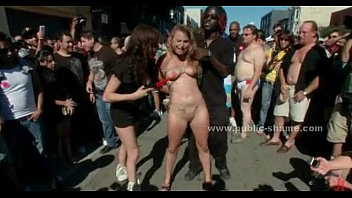 Naked slave fucked in public by gang - 69VClub.Com