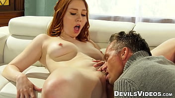 Nubile with small tits fucked by an old guy doggy style