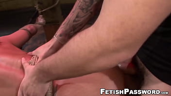 Tied up Becca Diamond fed dick before doggystyle
